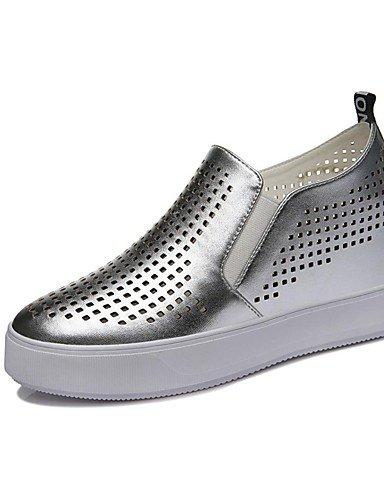 ZQ Zapatos de mujer-Tacón Cuña-Cuñas / Comfort-Mocasines-Oficina y Trabajo / Vestido / Casual / Fiesta y Noche-Sintético-Negro / Plata , silver-us8 / eu39 / uk6 / cn39 , silver-us8 / eu39 / uk6 / cn39 black-us8 / eu39 / uk6 / cn39