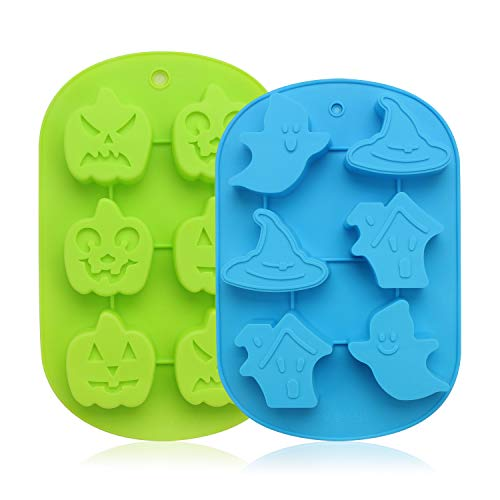 (2PCs Beasea Halloween mold Pumpkin Faces Silicone mold Ghost Pumpkin Baking Mold Set Candy Ice Cube Mold Trays Soap Mold Jello)