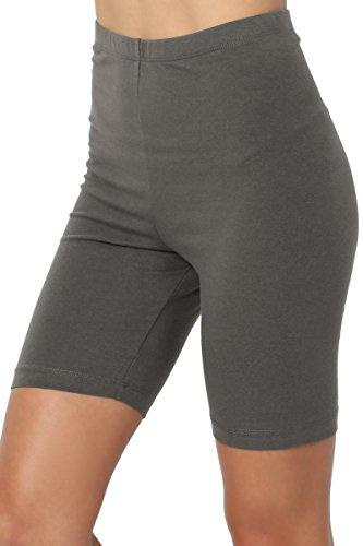TheMogan Women's Mid Thigh Cotton High Waist Active Short Leggings Grey 1XL