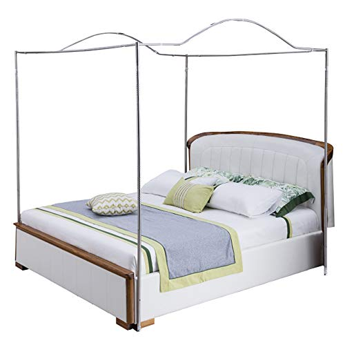 Mengersi Bedding Canopy Bed Frame Post,White (King, Silver-Arched) (Canopy Bed Frame King White)