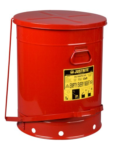 (Justrite SoundGuard 09708 Steel Oily Waste Can with Foot Operated Cover, 21 Gallon Capacity, Red)