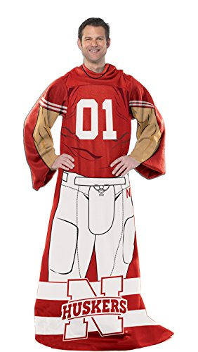 - Officially Licensed NCAA Nebraska Cornhuskers Full Body Player Adult Comfy Throw Blanket, 48
