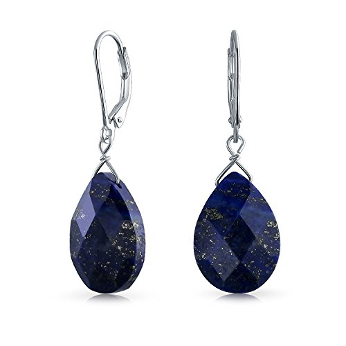 Gemstone Blue Lapis Lazuli Faceted Teardrop Pear Shaped Drop Dangle Leverback Earrings For Women 925 Sterling Silver ()