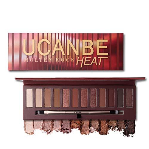 URFACE 12 Colors Molten Rock Heat Eyeshadow Shimmer Matte Red Copper Amber-Hued Neutrals Warm Nude Eye Shadow Palette