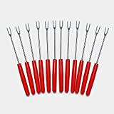 ShengHai Stainless Steel Fondue Forks 7'', Set of 12, Small, Cheese Fondue Forks with Heat Resistant Handle for Chocolate Fountain Cheese Fondue (12)