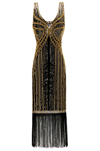 [Metme Women's Vintage 1920s Inspired Fringed Beads Art Deco Gatsby Evening Party Dress] (Latin Themed Costumes)
