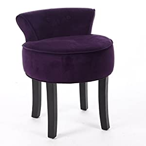 Vanity stool velvet look colour purple - Amazon bedroom chairs and stools ...