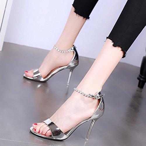 tacchi alti multa strass con Estate sexy sandali partito open moda banchetto YMFIE B toe 75qPCxwSS