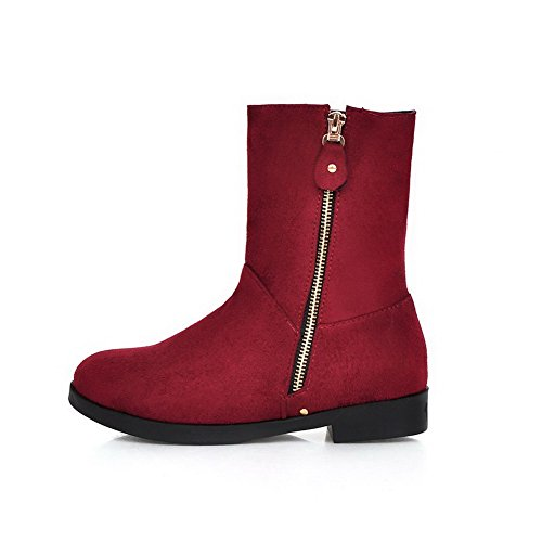 AllhqFashion Womens Imitated Suede Low-Top Solid Zipper Low-Heels Boots Red Coflc