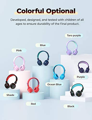 iClever BTH03 Kids Headphones, Colorful LED Lights Kids Wireless Headphones with MIC, 25H Playtime, Stereo Sound, Bluetooth 5.0, Foldable, Childrens Headphones on Ear for Study Tablet Airplane, Shade