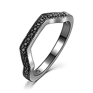 Castillna Black Gold Sterling Silver Created Black Diamond Wedding Band Ring for Women Size 6