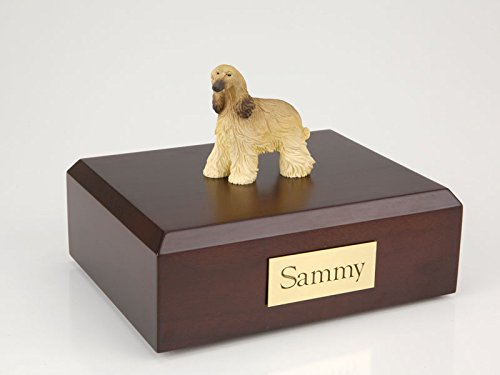 Pet Cremation Urn - Afghan Dog Figurine on Traditional, Small, Maple Wood Urn. See color swatch for wood (Maple Urn)