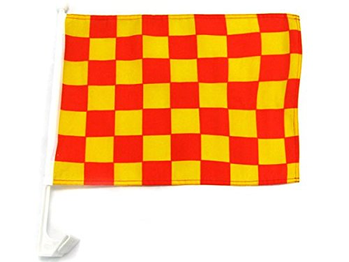 Yellow Checkered Flag - 12x18 Checkered Red and Yellow Single-Sided Car Flag Premium Window Vehicle 12