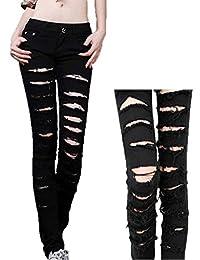 Women's Black Cotten Denim Punk Ripped Jeans Sexy Slim Cut off Leggings S M L