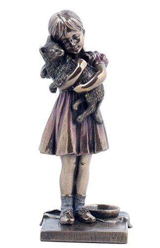 6.25 Inch Burnished Figurine Little Girl holding Pet Cat Bronze Hued