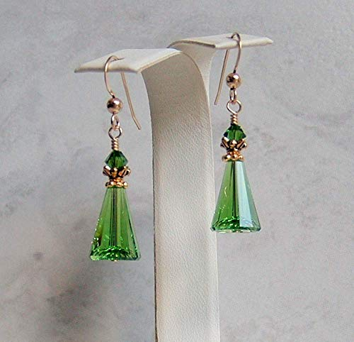 Fern Green Cone Triangle Gold Filled Earrings Made With Swarovski Crystals Gift Idea
