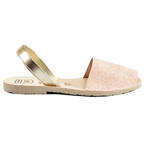 Avarcas Sandals for Women - Handmade in Spain with Natural Leather- Slip on/Slingback Flats (US 9 (EU 39), Pink ()