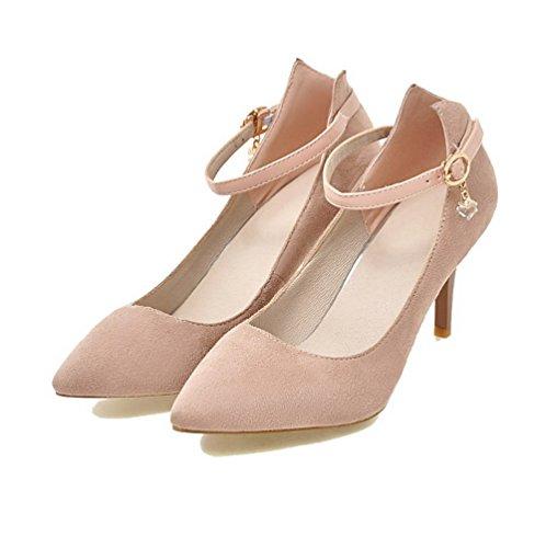 y mujer color alto Odomolor con 37 de alto zapatos tacón rosa para esmerilado y tacón Zapatillas FqdwAF7