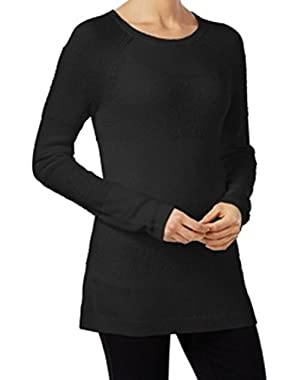 Calvin Klein ixed Stitch Textured Women's Crewneck Sweater Black XL