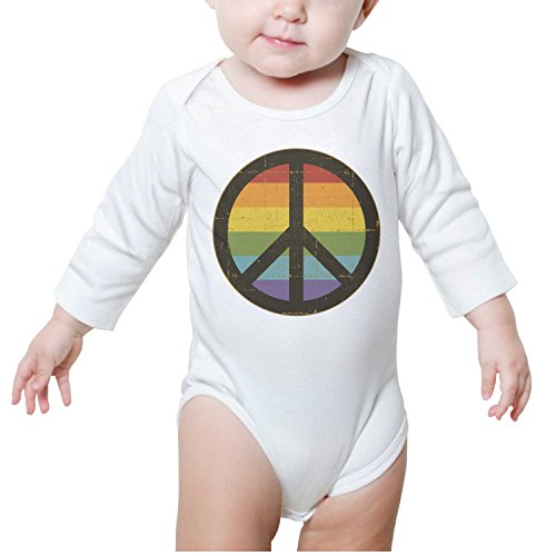 Price comparison product image Juliuse Marthar Natural-Organic Rainbow Peace Sign Baby Onesie Long Sleeve Shirt Outfits for Newborn Infant