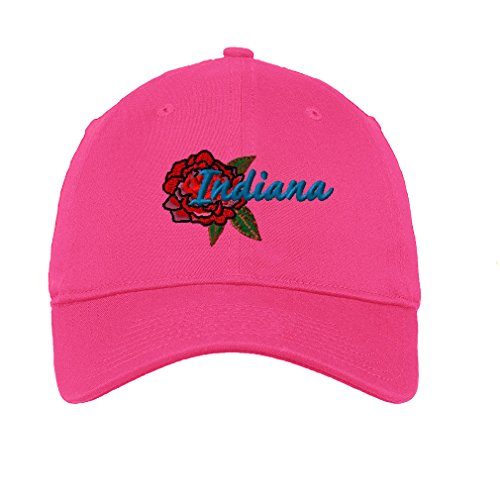 Peony Indiana Twill Cotton 6 Panel Low Profile Hat Hot Pink ()
