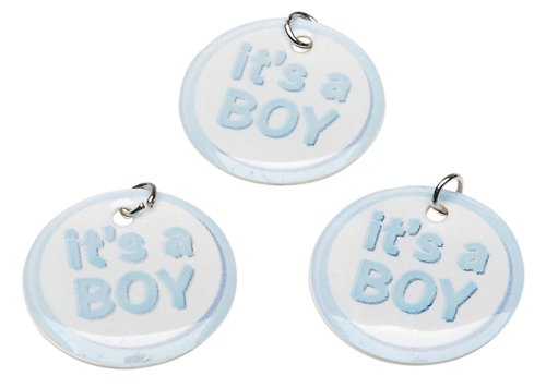 Darice It's a Boy Charm Circles, 12-Piece