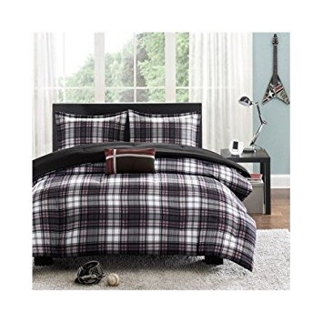 Comforter Bed Set Black White Red Plaid Print Teen Bedding Bedspread Pillow Update Home Decor (Twin/twin Xl) by Mi-Zone (Image #1)