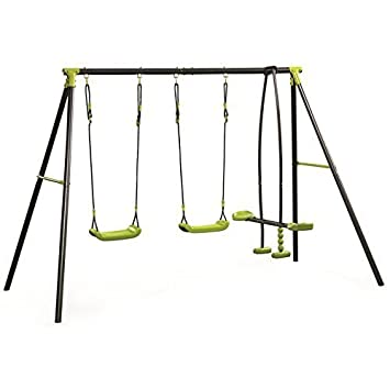 Sohler By Eurotrade W Rexco Kids Outdoor Garden Toy Metal Frame See Saw Glider Double Childrens Swing Playground Set
