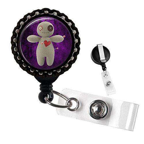Voodoo Doll Black Retractable Badge Reel ID Tag Holder by Geek Badges]()