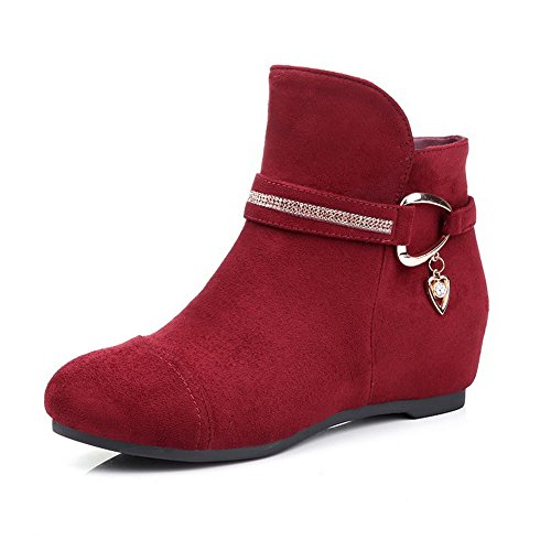 AmoonyFashion Womens Round-Toe Closed-Toe Low-Heels Boots With Glass Diamond and Zippers Claret