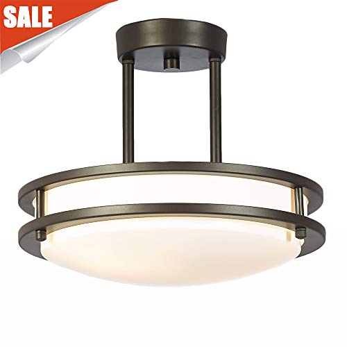 GLANZHAUS Modern 11.8 inches 2 Lights Oil-Rubbed Bronze White Tempered Acrylic Shade Flush Mount Ceiling Light, Chandelier Ceiling Light Fixture for Living Room Bedroom 13W(60W Equivalent)