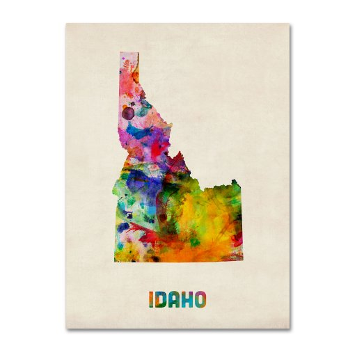 Idaho Map by Michael Tompsett, 24 by 32-Inch Canvas Wall Art