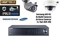 Samsung 16 Camera 8 Dome & 8 Bullet CCTV Camera Kit & 16 Channel DVR 4TB HDD Analog HD 1080p Plug&Play Outdoor Weatherproof Vandal-Resistant