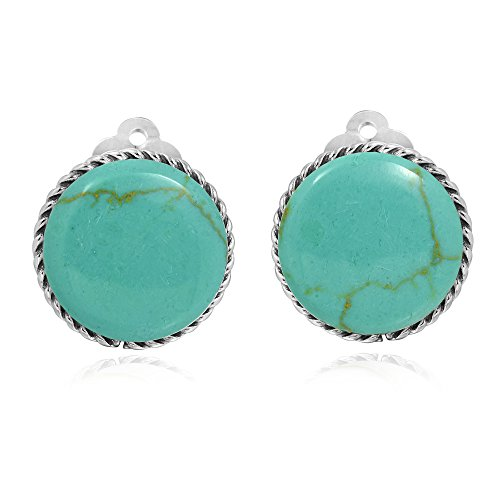 Classic 18 mm Round Simulated Turquoise Button .925 Sterling Silver Clip On Earrings