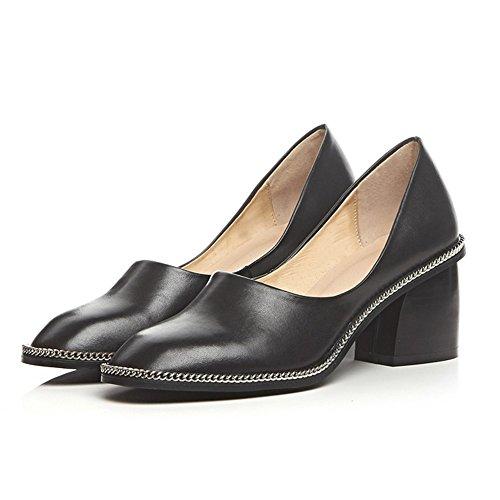 Minivog Stacked Heel Square Toe Mujeres Zapatos De Bomba Negro