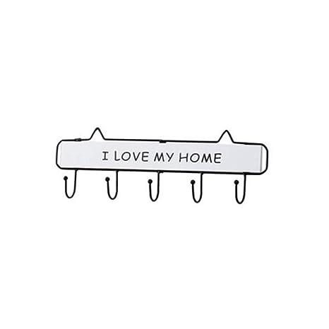 Ruiting Perchero de Llaves de Pared Gancho de Llaves Colgador de Llaves Letras I Love MY Home Multifunción con 5 Gancho Decoración de Hogar(Blanco)