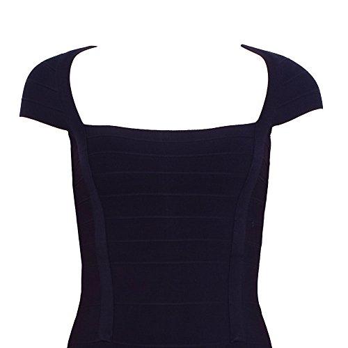 Damen Cap Kragen Hülsen Mini Quadrat Kleid Kunstseide HLBandage Verband Schwarz qIOawxdw
