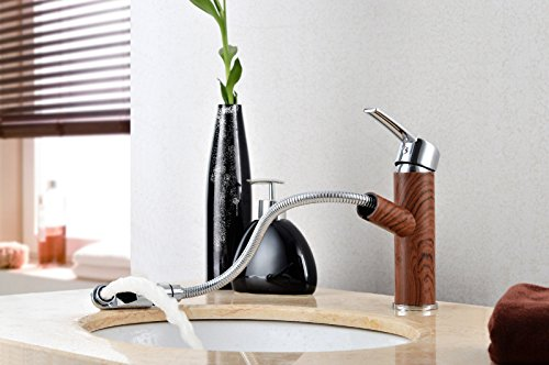 Wood color drawing bathroom faucet, cold and hot water wash basin