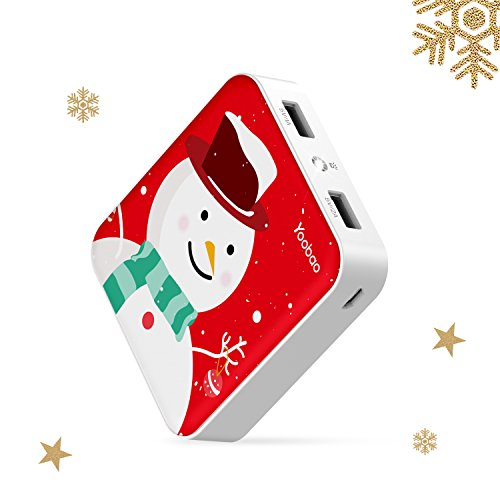 Yoobao Portable Charger 10000mAh Power Bank External Battery Pack Powerbank Cell Phone Battery Backup Charger Dual USB Output Comaptible Cellphone Smartphones Snowman