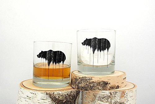 Whiskey Glasses - Bear Above Tree Line - Set of Two Screen Printed Rock (Line Whiskey)