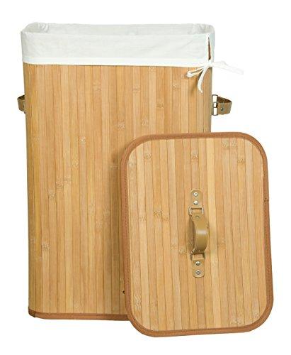 Kronenburg Bambus Wäschekorb Wäschesammler mit Deckel, Fassungsvermögen 70 L - 60 x 40 x 30 cm, Natur