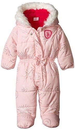U.S. Polo Assn. Baby-Girls Heavy Weight Foil Print Pongee Shell Polyfilled Pram, Baby Pink, 3-6 Months