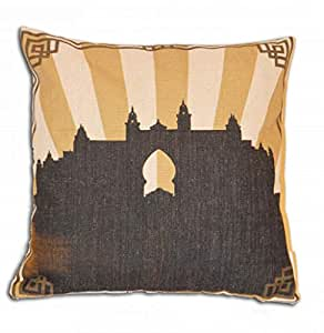Deco Arabia Atlantis Sepia Gold Printed Cushion Cover