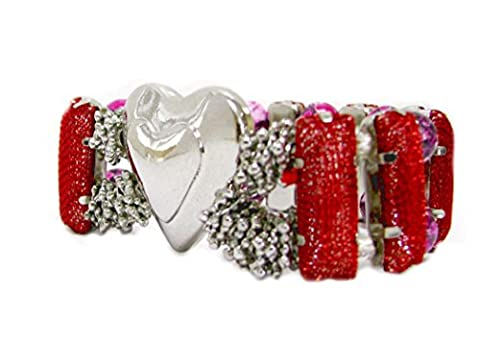 Linpeng PUP-22-4 Silver Plated Heart with Red Glitter Netted Slider Beads and Pink Collage Stone Beads Stretch - Glitter Stretch Bracelet