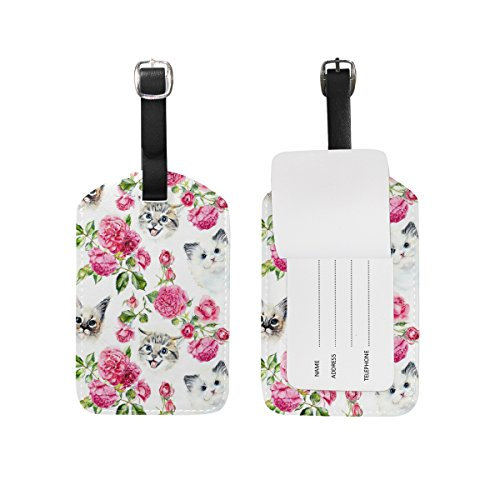- Use4 Cute Cat Pink Rose Flower Luggage Tags Travel ID Bag Tag for Suitcase 1 Piece