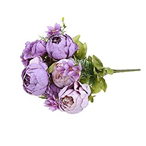 Misright Artificial Fake Flowers,13 Heads Artificial Silk Peony Flowers Bouquet Bridal Wedding Party Decoration 5