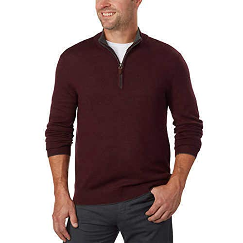 (Kirkland Signature Men's Extra Fine Merino Wool ¼ Zip Sweater (M, Red))