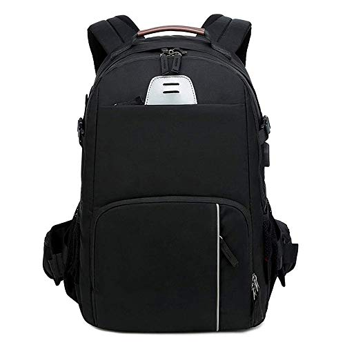 Yikuo Camera Bag Shoulder Camera Bag Professional SLR DSLR Bag Large Capacity Can Be Connected to The Data Cable Fashion Backpack -30 X 18 X 47CM Black Well-Made