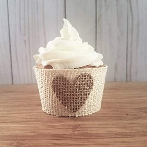 Burlap Heart Cupcake Holders, Rustic Wedding Cupcake Wrappers, Rustic Wedding Cupcake Liners, Neutral Baby Shower Cup Cake Sleeves, Set of 12 Standard Size ()