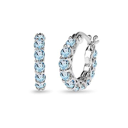 (Sterling Silver Blue Topaz Small Round Huggie 18mm Hoop Earrings)